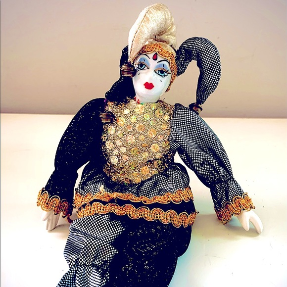 Harlequin Jester Porcelain Mardi Gras Mime Doll